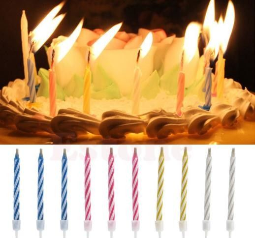 4 Color Magic Relighting Birthday Candles Striped Design Eco Friendly 100% Paraffin