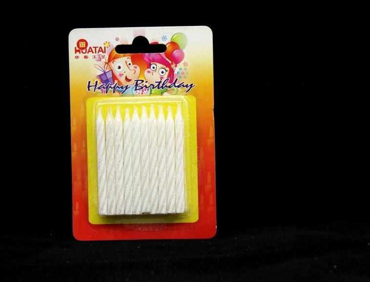 Shining White Spiral Glitter Birthday Candles ,  Happy Anniversary Cake Candles